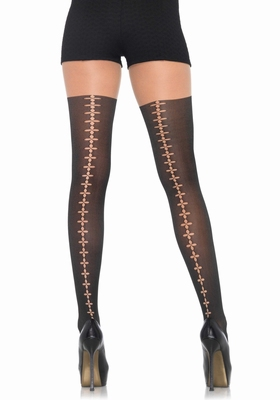 Naadpanty, zwart / Fantasy backseam pantyhose